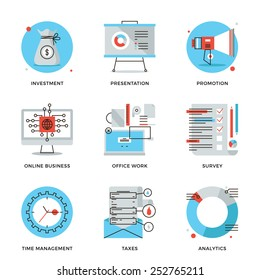 Thin line icons of corporate accounting, financial statistics, customer survey service, online business, time management. Modern flat line design element vector collection logo illustration concept.
