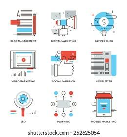 Thin line icons of digital marketing, video advertising, social media campaign, newsletter promotion, website optimization. Modern flat line design element vector collection logo illustration concept.
