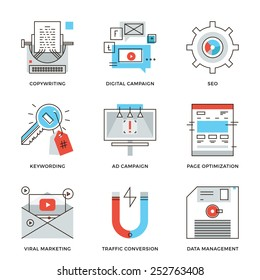 Thin line icons of digital marketing campaign, video viral advertising, text copywriting, website SEO optimization. Modern flat line design element vector collection logo illustration concept.
