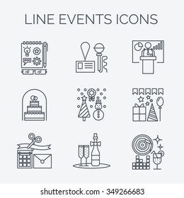 Thin line icons of events and special occasions organization. Catering service agency, marketing agency. Graphic concept of event marketing. Website elements.