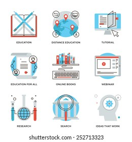 Thin line icons of global education form, online webinar, video tutorial, certificate of specialist, know how ideas develop. Modern flat line design element vector collection logo illustration concept