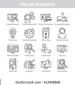 Thin line icons for online business planning, development and speares of engagement. Online shop, creative ideas, education, application development and other.