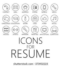 thin line icons pack for CV, resume, job