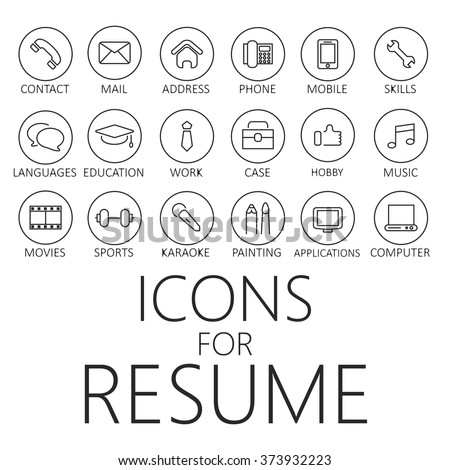 cv icons Thin Line Icons Pack CV Resume Stock Vector (Royalty Free