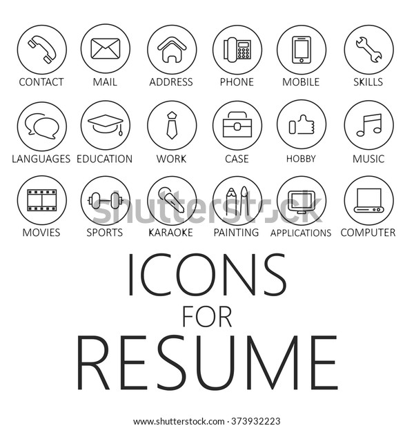 Icons For Resume.Thin Line Icons Pack Cv Resume Stock Vector Royalty Free