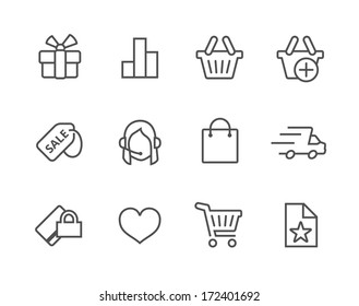 Thin line icons related to e-commerce