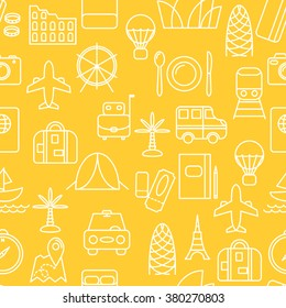 Thin line icons seamless pattern. Travel and transportation icon yellow background for websites, apps, presentations, cards, templates.