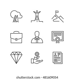 Thin line icons set about professional success. Flat symbols
