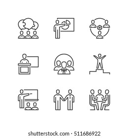 Thin line icons set about business people. Flat symbols.