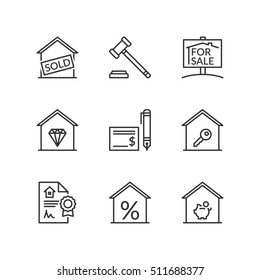 Thin line icons set about real estate for sale. Flat symbols.