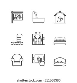Thin line icons set about real estate for rent. Flat symbols