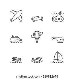 Thin line icons set about water and air transport. Flat symbols.