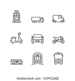 Thin line icons set about land transport. Flat symbols