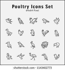 Thin line icons set of animals, poultry, bird, wild, zoo. Editable vector stroke 64x64 Pixel.