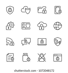 Thin line icons set of anti virus, data protection, virus infected, locked data. Editable vector stroke 100x100 Pixel.