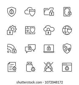 Thin line icons set of anti virus, data protection, virus infected, locked data. Editable vector stroke 100x100 Pixel.