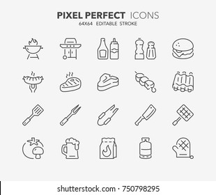 Thin line icons set of barbecue and grill. Outline symbol collection. Editable vector stroke. 64x64 Pixel Perfect.