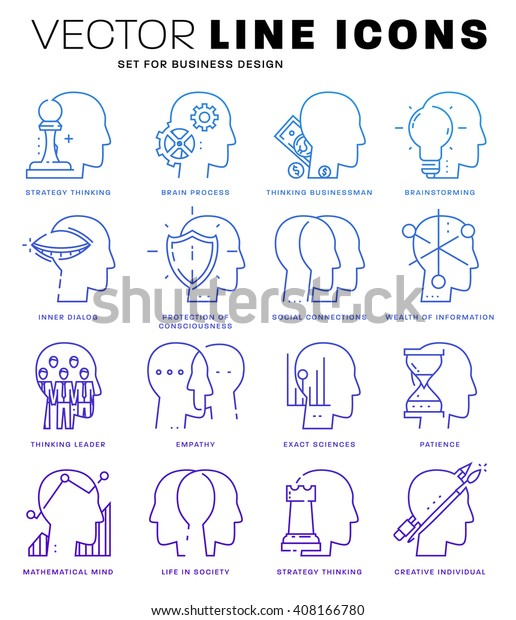 Thin Line Icons Set Brain Mind Stock Vector (Royalty Free