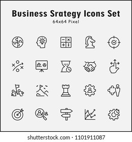 Thin line icons set of Business Strategy, Target Audience, Research, Plan, Scheme and more. Editable vector stroke 64x64 Pixel.
