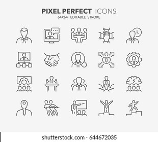 Thin line icons set of business people and corporate management. Outline symbol collection. Editable vector stroke. 64x64 Pixel Perfect.