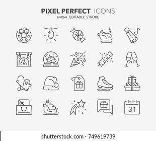 Thin line icons set of christmas, party and celebrations. Outline symbol collection. Editable vector stroke. 64x64 Pixel Perfect.