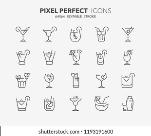 Thin line icons set of classic alcoholic cocktails. Outline symbol collection. Editable vector stroke. 64x64 Pixel Perfect.