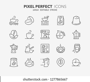 Thin line icons set of coffee. Outline symbol collection. Editable vector stroke. 64x64 Pixel Perfect.