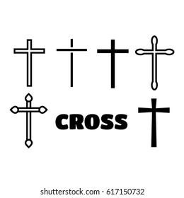 Thin line icons set of crosses. Illustration of crosses eps10