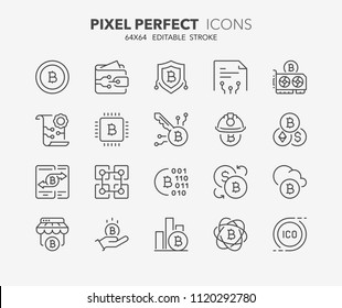Thin line icons set of crypto currency. Outline symbol collection. Editable vector stroke. 64x64 Pixel Perfect.