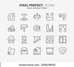 Thin line icons set of decoration and interior design. Outline symbol collection. Editable vector stroke. 64x64 Pixel Perfect.
