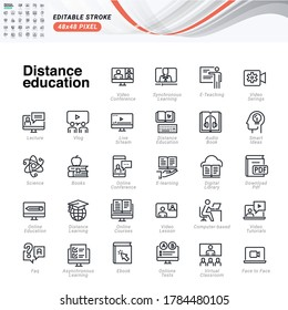 Dünne Linie Symbole Set von Fernunterricht. Pixel perfekte Symbole, bearbeitbarer Strich.