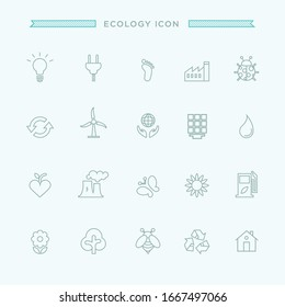 Thin line icons set of ecology, environment and sustainability concepts. Outline symbol collection.