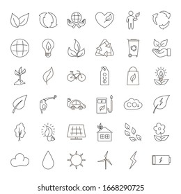 Thin line icons set Ecology concept. Vector modern outline icons. Eco friendly flat sign collection.