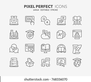 Thin line icons set of e-learning and online education. Outline symbol collection. Editable vector stroke. 64x64 Pixel Perfect.