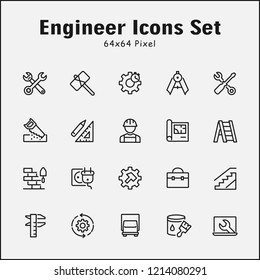 Thin line icons set of Engineer. Editable vector stroke 64x64 Pixel.