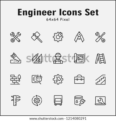 Thin Line Icons Set Engineer Editable Stock Vector (Royalty Free