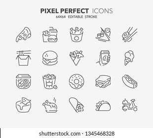 Thin line icons set of fast food and take away. Outline symbol collection. Editable vector stroke. 64x64 Pixel Perfect.