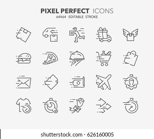 Thin line icons set of fast services, shipping and delivery. Outline symbol collection. Editable vector stroke. 64x64 Pixel Perfect.