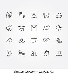 thin line icons set of fitness, sport icons collection