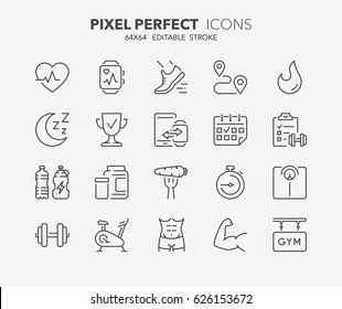 Thin line icons set of fitness, gym and health care. Outline symbol collection. Editable vector stroke. 64x64 Pixel Perfect. - Shutterstock ID 626153672