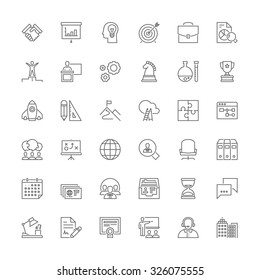 Thin line icons set. Flat symbols about business