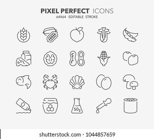 Thin line icons set of food allergens. 14 allergies outlined by the EU European Food Safety Authority which encompass the big 8 FDA Major Allergens. Outline symbol collection. Editable vector stroke