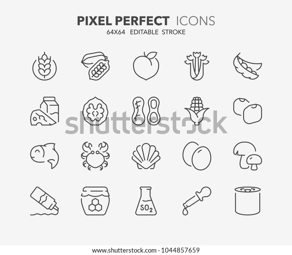 Thin Line Icons Set Food Allergens Stock Vector (Royalty