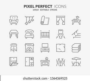 Thin line icons set of furniture, drapery and home textiles. Outline symbol collection. Editable vector stroke. 64x64 Pixel Perfect.