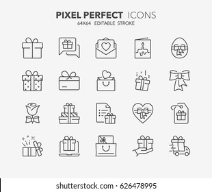 Thin line icons set of gifts and presents. Outline symbol collection. Editable vector stroke. 64x64 Pixel Perfect.