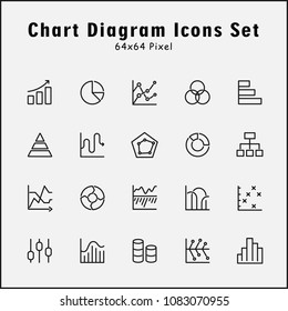 Thin line icons set of graphic chart diagram. Editable stroke vector 64x64 Px.