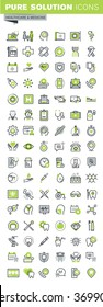 Thin line icons set of health care and medicine theme, online medical support, family health care, dental treatment, diagnosis and treatment, health insurance. Premium quality outline icon collection.