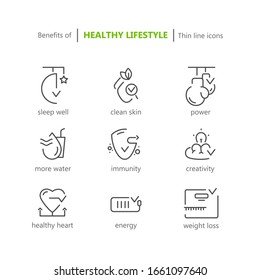 Thin line icons set for healthcare. Benefits of healthy lifestyle.