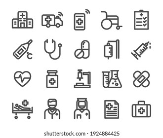 Thin line icons set of hospital, health ,doctor ,clinic and medical care.