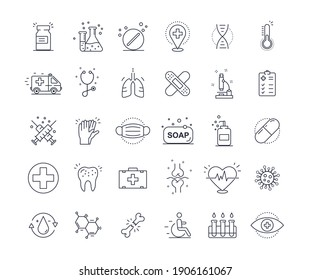 Thin line icons set of hospitals and medical care. Flat design of medicine, pharmacology, oncology, blood, medical ethics with elements for mobile concepts and web application. Vector illustration.